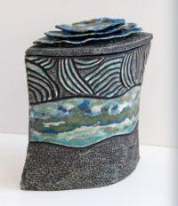 Boite flacon grès noir paysage - Travail sur plaques - Claude Agier-Mollinari
