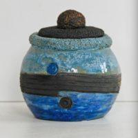 Petite boite grès noir grès blanc avec oxyde de cobalt - Modelage - Claude Agier-Mollinari