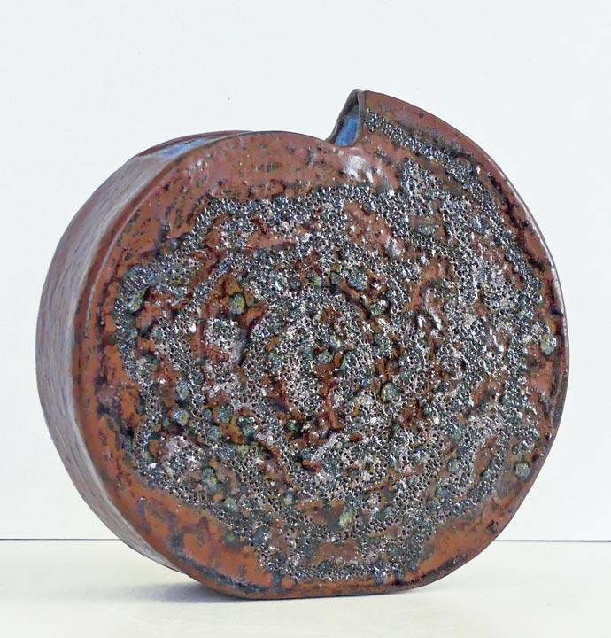 Vase ellispe grès rouge - Travail sur plaques - Claude Agier-Mollinari