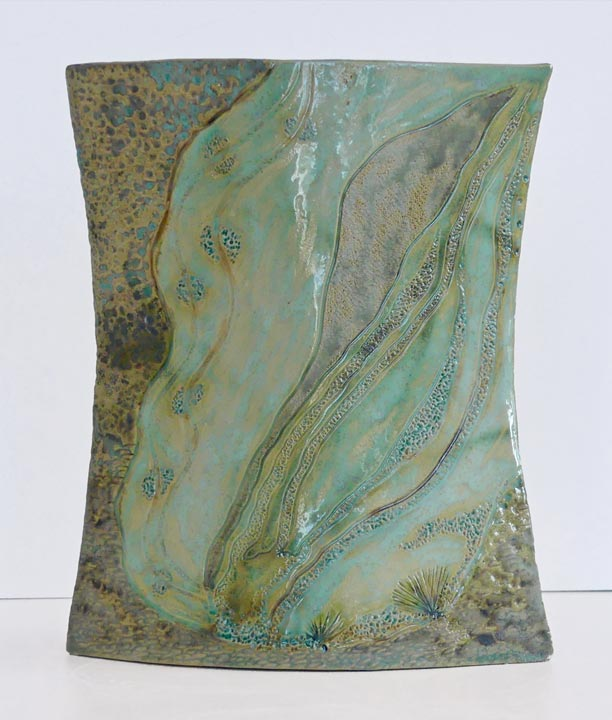 Vase flacon grès blanc - Grès teinté à l'oxyde de cuivre - Claude Agier-Mollinari