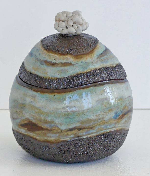 Boite ronde grès rouge - Modelage - Claude Agier-Mollinari