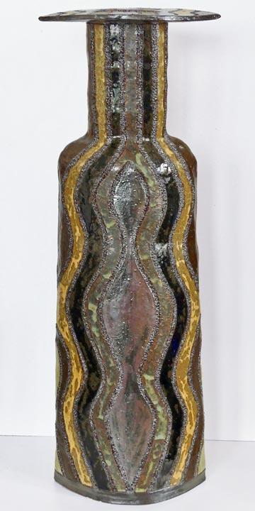 Bouteille grès rouge - Arabesque - Claude Agier-Mollinari
