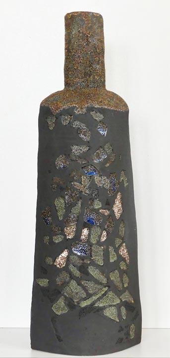 Bouteille grès noir - Mat - Claude Agier-Mollinari