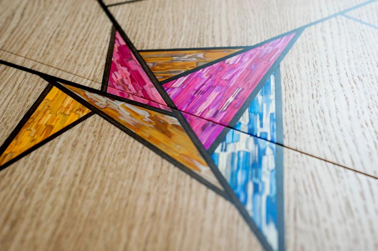 Table vitrail marqueterie - Jean-Baptiste Saint-Criq